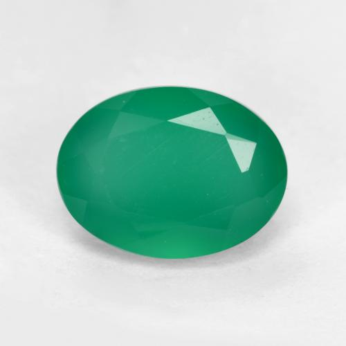 Medium Green Agate Gem - 1.3ct Oval Facet (ID: 552270)