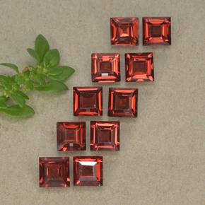 Medium Red Almandine Garnet Gem - 0.4ct Square Step-Cut (ID: 494310)