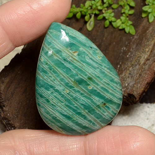 Pine Green Amazonite Gem - 68.1ct Pear Cabochon (ID: 484689)