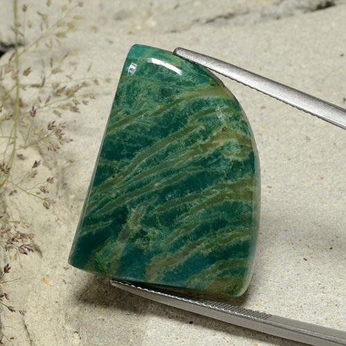 Cool Pine Green Amazonite Gem - 34.5ct Shark Fin Cabochon (ID: 484741)