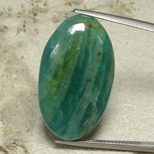 Blue-Green Amazonite Gem - 25.9ct Oval Cabochon (ID: 484800)