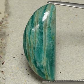 Blue-Green Amazonite Gem - 16.6ct Half Moon Cabochon (ID: 484802)