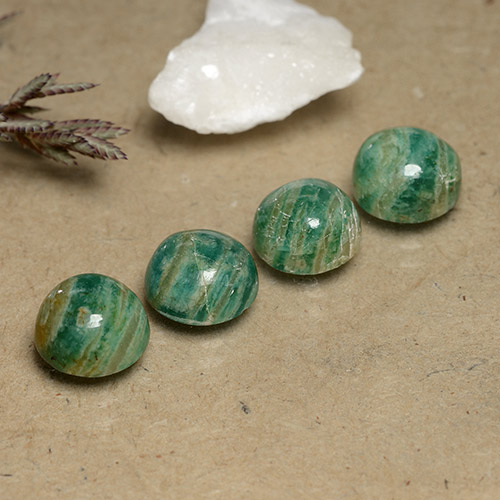 Blue-Green Amazonite Gem - 2.4ct Round Cabochon (ID: 490985)