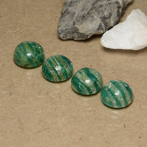 Blue-Green Amazonite Gem - 3ct Round Cabochon (ID: 490999)