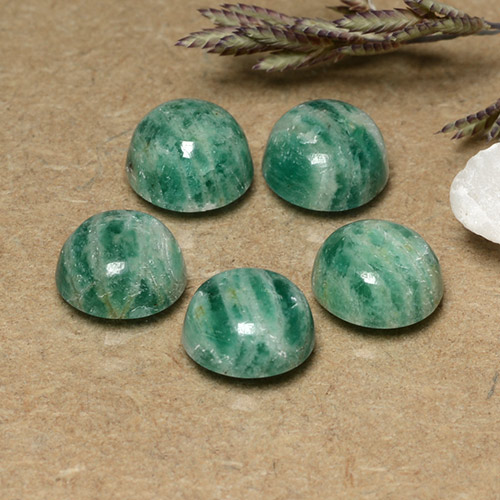 Blue-Green Amazonite Gem - 1.4ct Round Cabochon (ID: 491011)
