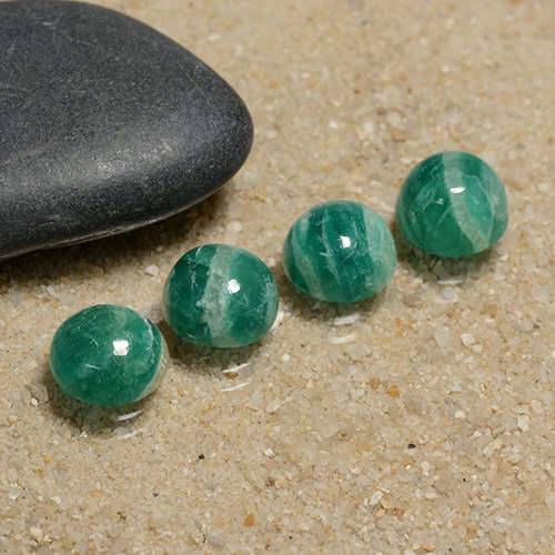 Medium Green Amazonite Gem - 1.4ct Round Cabochon (ID: 491075)