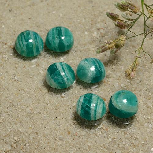 Deep Green Amazonite Gem - 1.4ct Round Cabochon (ID: 491145)