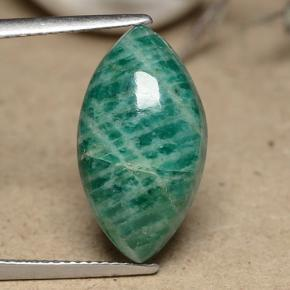 Blue-Green Amazonite Gem - 8.7ct Marquise Cabochon (ID: 491221)