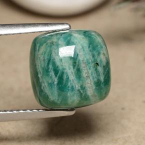 Blue-Green Amazonite Gem - 5.4ct Cushion Cabochon (ID: 491223)