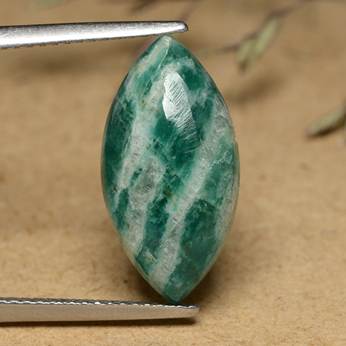 Blue-Green Amazonite Gem - 5.9ct Marquise Cabochon (ID: 491257)
