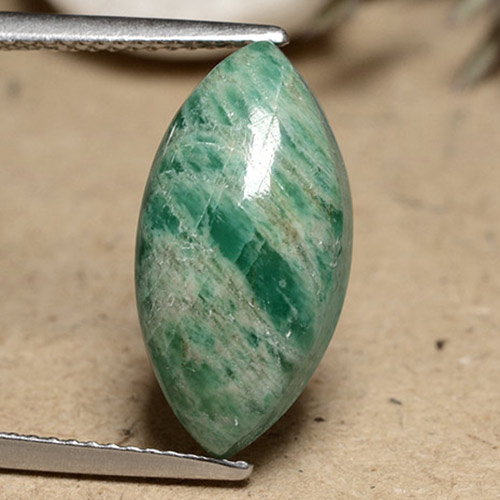 Blue-Green Amazonite Gem - 7.9ct Marquise Cabochon (ID: 491266)