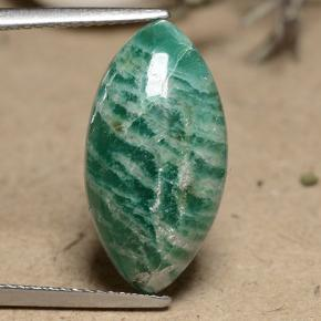 Pine Green Amazonite Gem - 7.5ct Marquise Cabochon (ID: 491270)