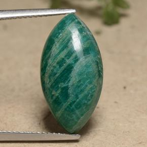 Blue-Green Amazonite Gem - 8.8ct Marquise Cabochon (ID: 491281)