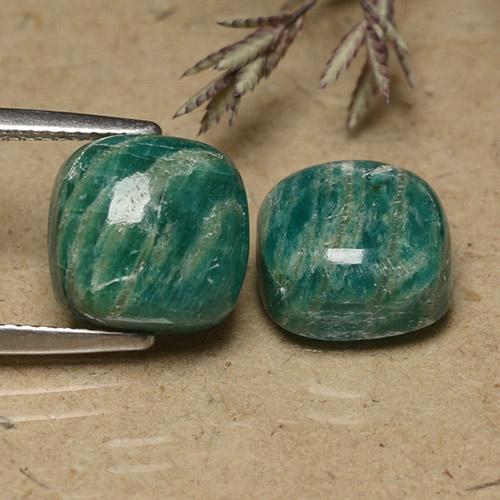 Blue-Green Amazonite Gem - 5.6ct Cushion Cabochon (ID: 491475)