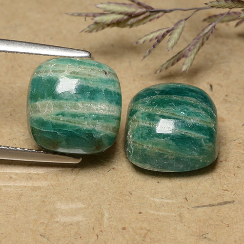 Blue-Green Amazonite Gem - 5.7ct Cushion Cabochon (ID: 491476)