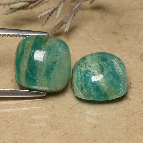 Blue-Green Amazonite Gem - 4.8ct Cushion Cabochon (ID: 491480)