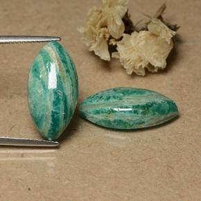 Cool Green Amazonite Gem - 6.6ct Marquise Cabochon (ID: 491595)