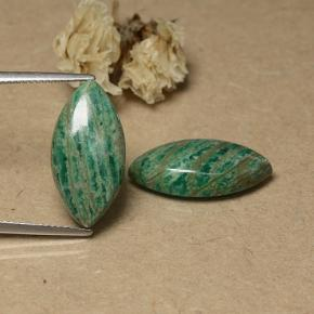 Blue-Green Amazonite Gem - 7ct Marquise Cabochon (ID: 491597)