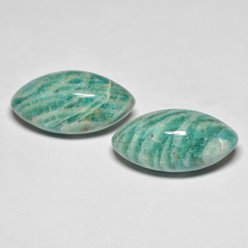 Blue-Green Amazonite Gem - 7.9ct Marquise Cabochon (ID: 491598)