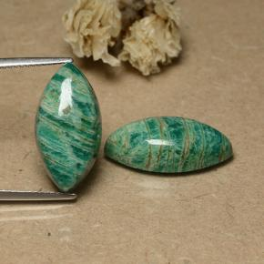 Cool Pine Green Amazonite Gem - 7.8ct Marquise Cabochon (ID: 491601)