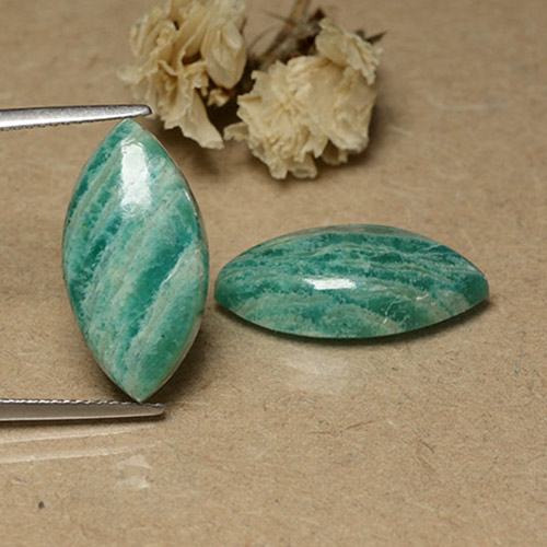 Pine Green Amazonite Gem - 7.3ct Marquise Cabochon (ID: 491605)