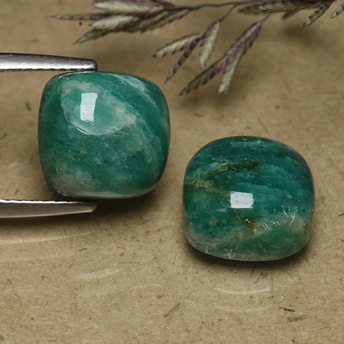 Blue-Green Amazonite Gem - 5.2ct Cushion Cabochon (ID: 491621)