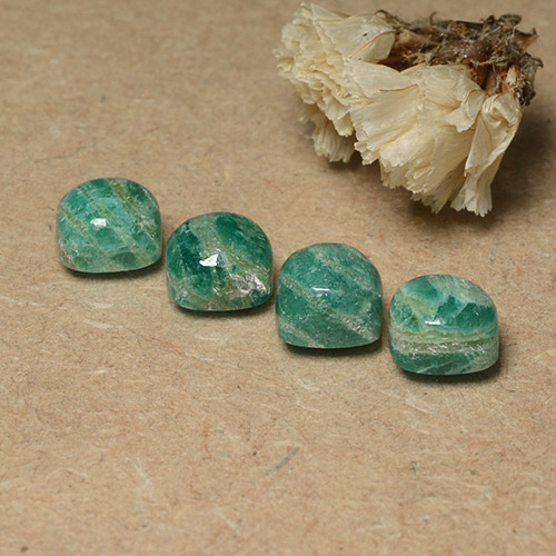 Blue-Green Amazonite Gem - 2.2ct Cushion Cabochon (ID: 491674)