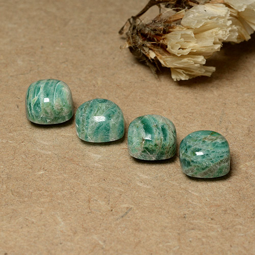Blue-Green Amazonite Gem - 2.2ct Cushion Cabochon (ID: 491675)