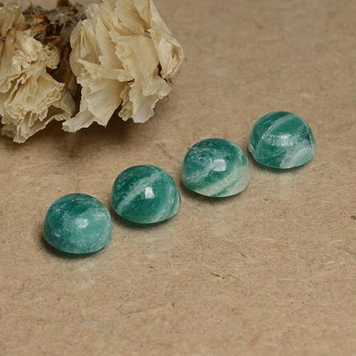 Medium-Dark Green Amazonite Gem - 0.9ct Round Cabochon (ID: 491720)