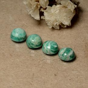 Blue-Green Amazonite Gem - 0.9ct Round Cabochon (ID: 491725)
