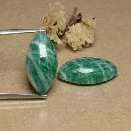 Pine Green Amazonite Gem - 8.9ct Marquise Cabochon (ID: 491740)
