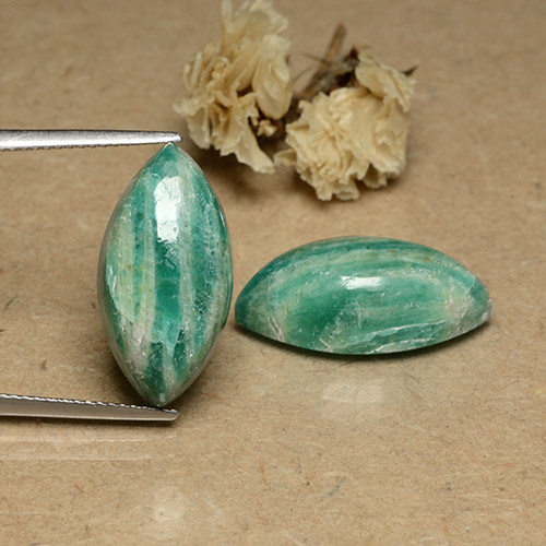 Blue-Green Amazonite Gem - 9.6ct Marquise Cabochon (ID: 491741)