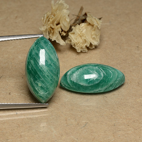 Blue-Green Amazonite Gem - 9.4ct Marquise Cabochon (ID: 491742)