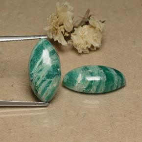 Blue-Green Amazonite Gem - 8.4ct Marquise Cabochon (ID: 491746)