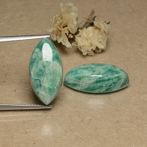 Blue-Green Amazonite Gem - 8.9ct Marquise Cabochon (ID: 491747)