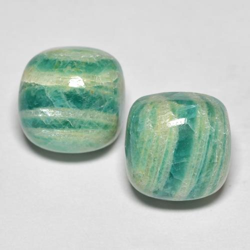 Cool Green Amazonite Gem - 5.9ct Cushion Cabochon (ID: 491787)