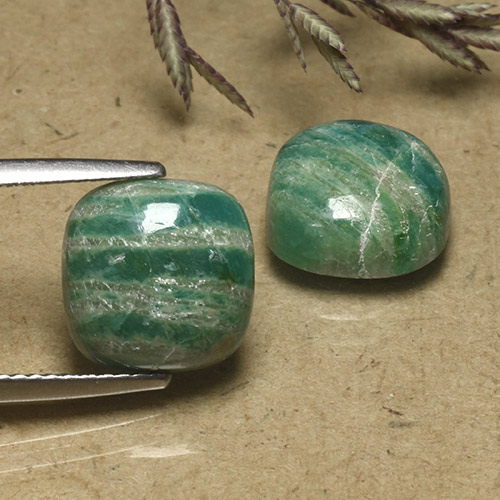 Blue-Green Amazonite Gem - 4.1ct Cushion Cabochon (ID: 491789)