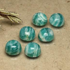 Blue-Green Amazonite Gem - 0.9ct Round Cabochon (ID: 491804)