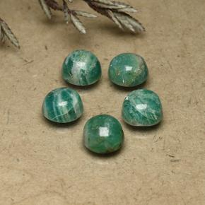 Blue-Green Amazonite Gem - 0.9ct Round Cabochon (ID: 491825)