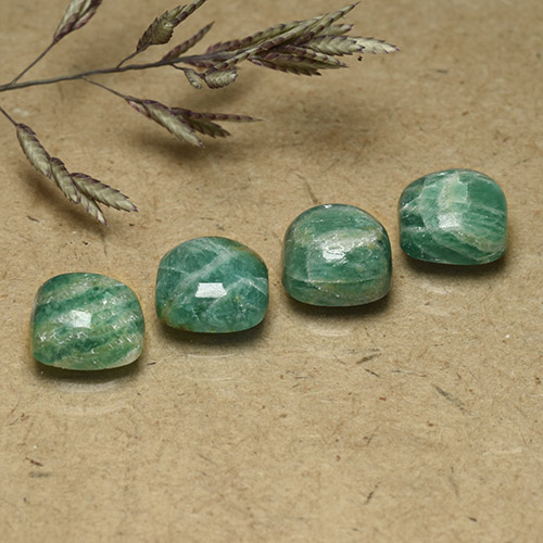 Cool Pine Green Amazzonite Gem - 1.6ct Cabochon a cuscino (ID: 491838)