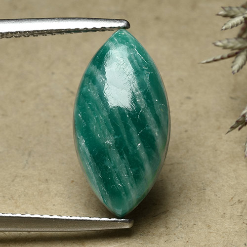 Blue-Green Amazonite Gem - 7ct Marquise Cabochon (ID: 492109)