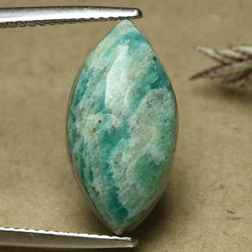 Blue-Green Amazonite Gem - 6.8ct Marquise Cabochon (ID: 492280)