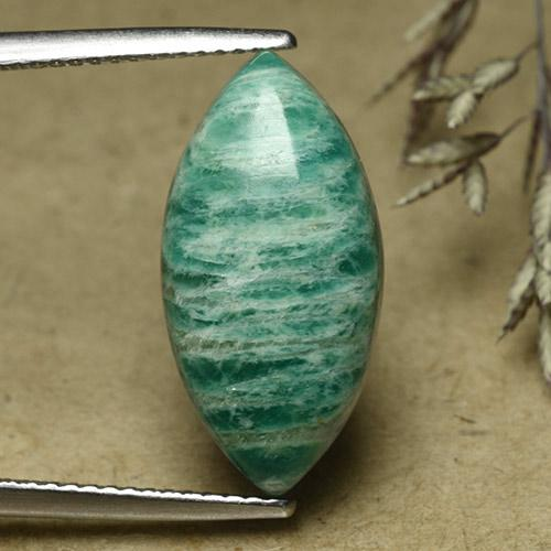 Pine Green Amazonite Gem - 7.6ct Marquise Cabochon (ID: 492282)