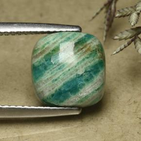Blue-Green Amazonite Gem - 4ct Cushion Cabochon (ID: 492285)