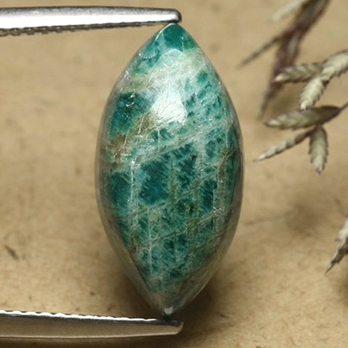Blue-Green Amazonite Gem - 7.2ct Marquise Cabochon (ID: 492460)