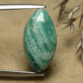 Blue-Green Amazonite Gem - 5.9ct Marquise Cabochon (ID: 492465)
