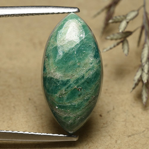Cool Green Amazonite Gem - 8.3ct Marquise Cabochon (ID: 492466)