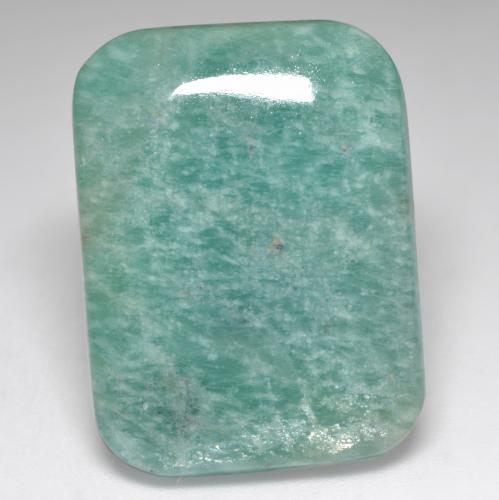 Bluish Green Amazonite Gem - 34.6ct Cushion Cabochon (ID: 535742)