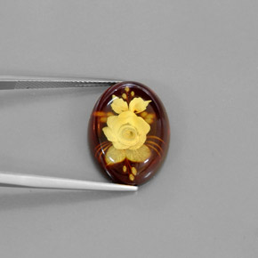 Buy 5.78 ct Yellow Orange Amber 19.93 mm x 14.9 mm from GemSelect (Product ID: 293827)