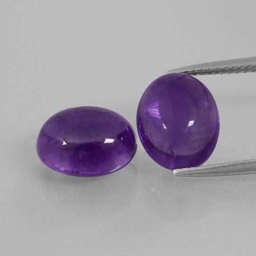 Medium Violet Amethyst Gem - 4.1ct Oval Cabochon (ID: 392228)